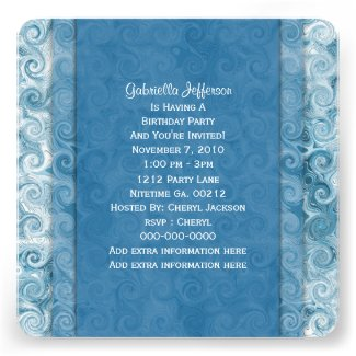 Beachy Blue Swirl: Party Invitation