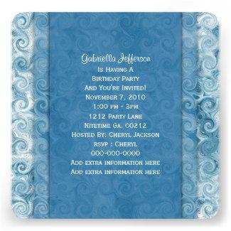 Beachy Blue Swirl: Party Invitation
