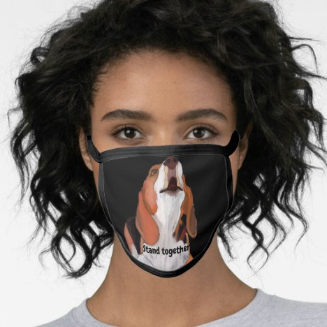 Beagle Black All Over Cotton & Poly Blend Facemask