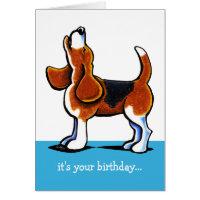 Beagle Howling Funny Birthday Card