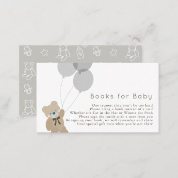 Bear & Balloons Gray Baby Shower Book Request Enclosure Card