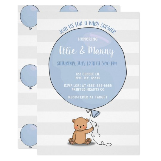 Bear With Balloon Baby Shower Invitation Blue