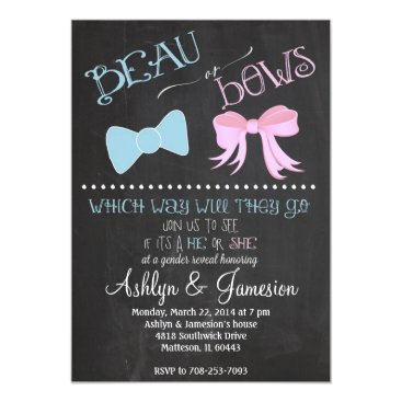 Beau bow or  Bows Gender Reveal Party Invitation