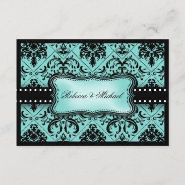 Beautiful Aqua Blue & Black Damask RSVP Cards