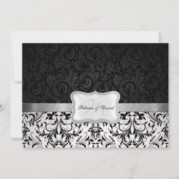 Beautiful Black and White Damask Rehearsal Dinner Invitation