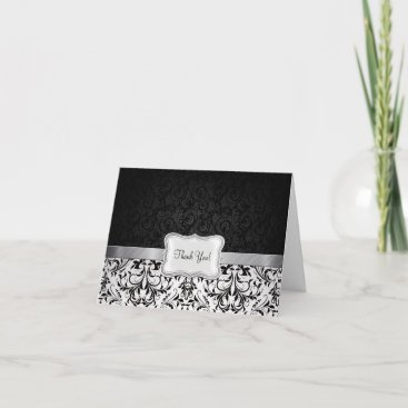 Beautiful Black and White Damask Thank You Card