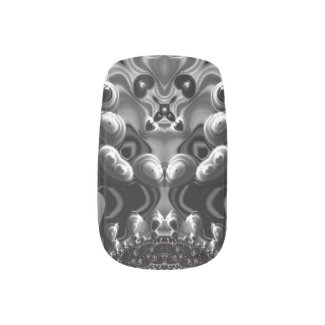 Beautiful black and White Fractal Art Fingernail Decal
