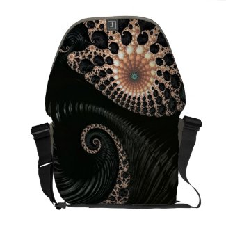 Beautiful Black Sea Swirls Fractal Rickshaw Bag