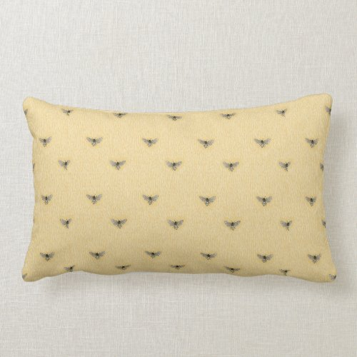 Beautiful Chic Hand-Drawn Bee Pattern Lumbar Pillow