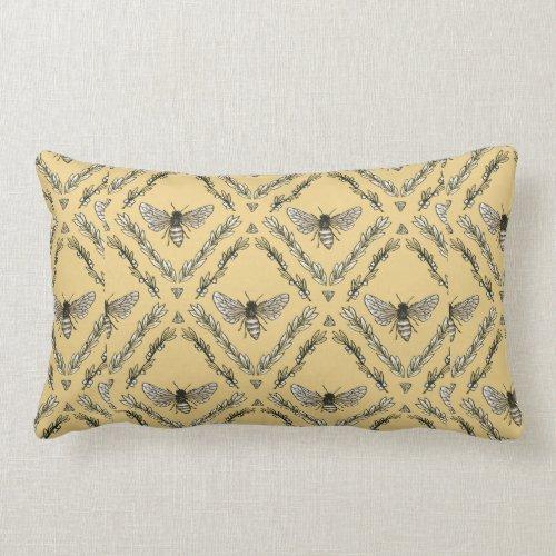 Beautiful Chic Hand-Drawn Bee Pattern Lumbar Pillow