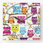 Beautiful Colorful Custom Owl Square Wallclock