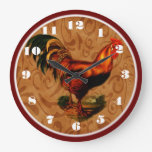 Beautiful Country Rooster Kitchen Clock