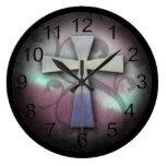 Beautiful Custom Christian Jesus Rustic Cross Clock