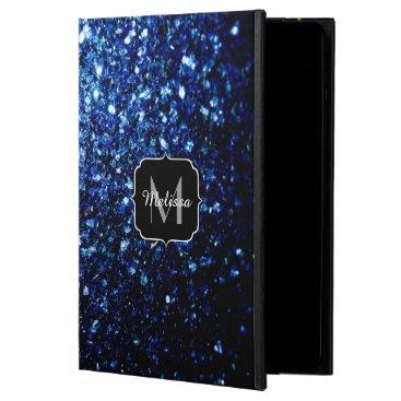 Beautiful Dark Blue glitter sparkles Monogram Powis iPad Air 2 Case