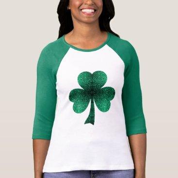 Beautiful Emerald Green Sparkles Shamrock Clover T-Shirt