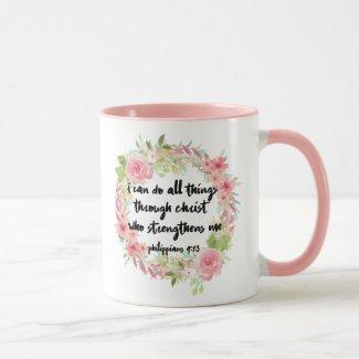 Beautiful Girl Philippians 4:13 Pink Rose Mug