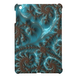 Beautiful Glossy Turquoise Brown Fractal Art