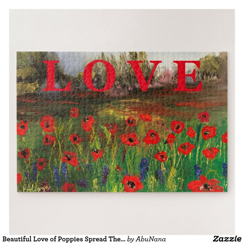 Beautiful Love of Poppies Spread The Love Jigsaw Puzzle
