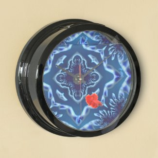 Beautiful Ocean Blue Reef Fractals Aquatic Clock