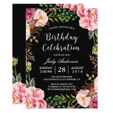 Beautiful Pink Floral Wreath Girly Birthday Party Card