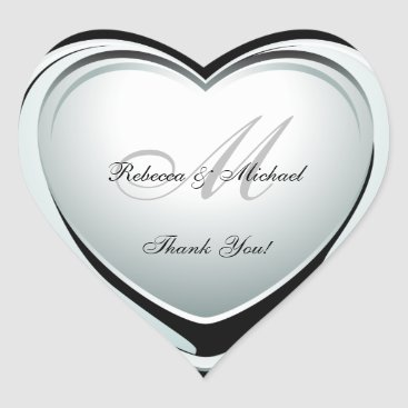 Beautiful Platinum Heart Wedding Thank You Sticker