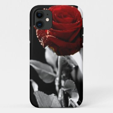 Beautiful Red Rose with Black & White background iPhone 11 Case