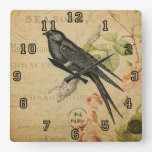 Beautiful Vintage Swallow Bird Floral Collage Square Wall Clock