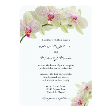 Beautiful White and Hot Pink Orchids Wedding Card