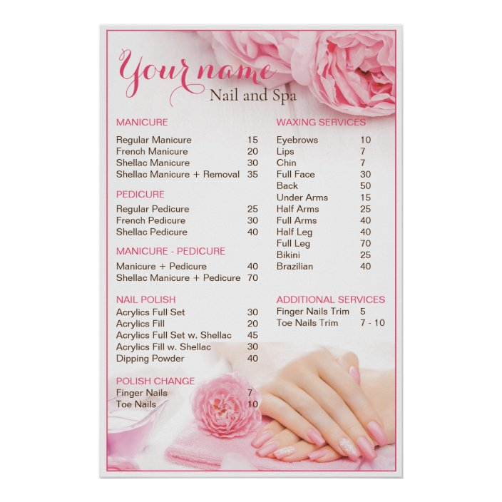 beauty nail salon price list poster zazzle com