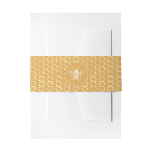 Bee and Golden Honeycomb Pattern Invitation Belly Band