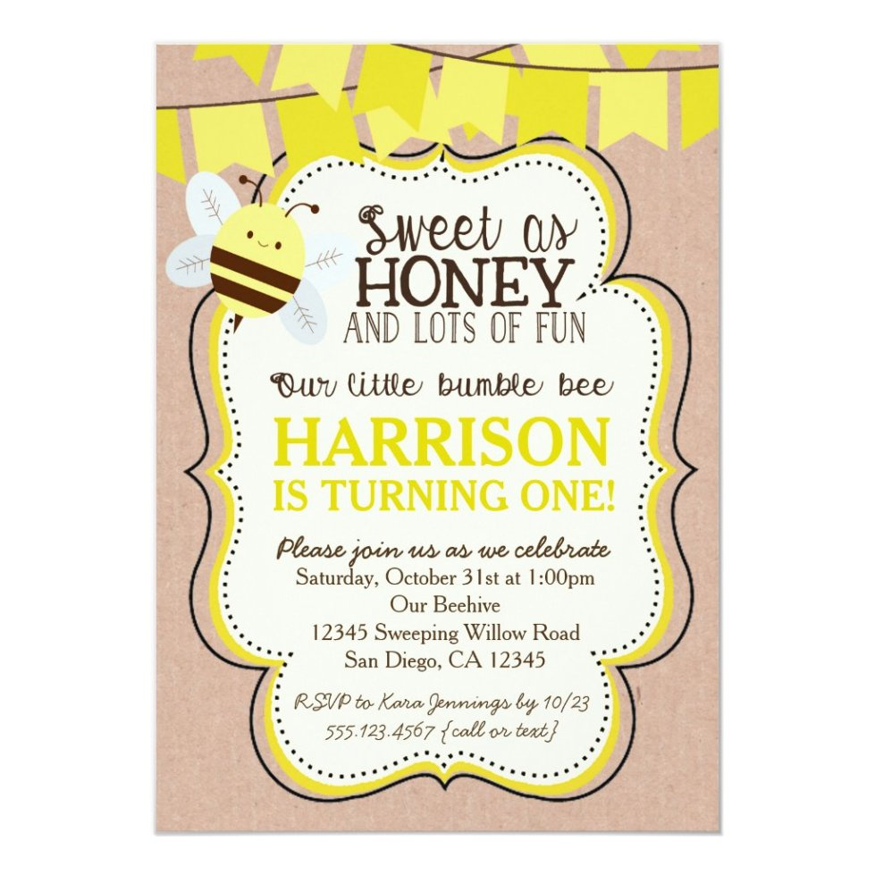 Girl Birthday My Party Invitations Bee Invitation For Boy Or Monicamarmolfo Images