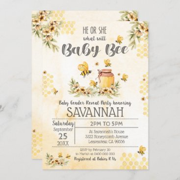 Bee Gender Reveal Baby Shower Invitation Spring