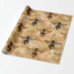 Bee Queen Honey Bronze Hold Vintage Crown Wrapping Paper