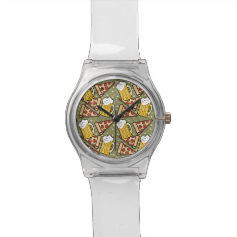 Beer and Pizza Graphic Wrist Watch
