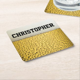 Beer Glass Personalize Square Paper Coaster