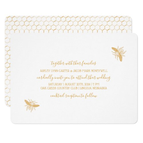 Bees and Golden Honeycomb Pattern Wedding 2 Invitation