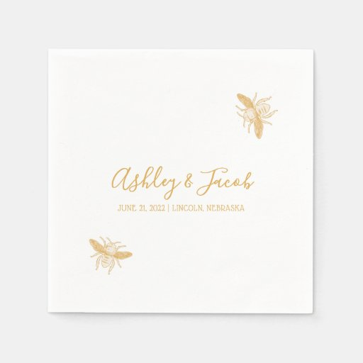 Bees and Golden Honeycomb Pattern Wedding Napkin