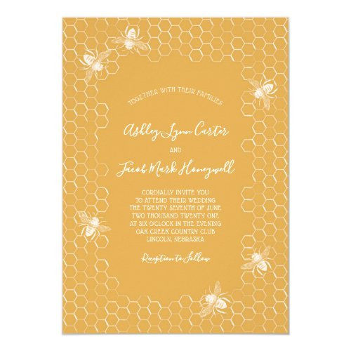 Bees and Golden Honeycomb Wedding Invitation