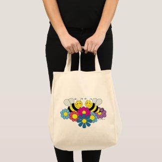 Bees & Flowers Cute Design Tote Bag