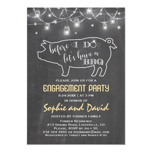 Before I DO'S Chalk Engagement Party Invitation