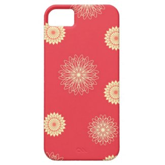 Beige flowers on dark orange iPhone 5 cover
