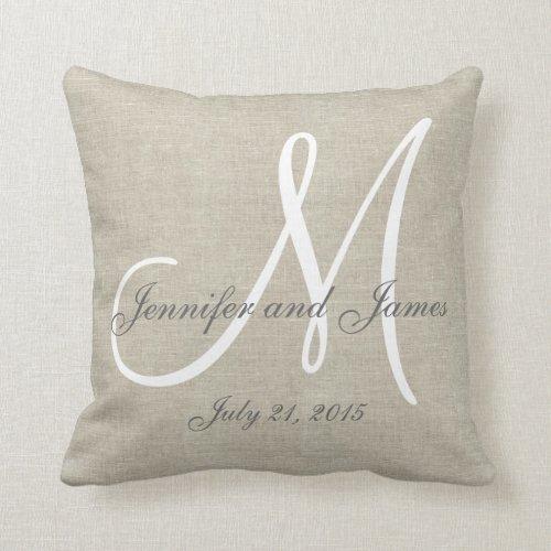 Beige Linen Gray White Monogram Wedding Keepsake Pillow