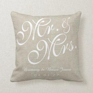 Beige White Linen Mr. and Mrs. Wedding Pillow