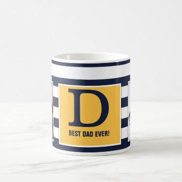 Best Dad Ever! With Photo and Monogram Modern! Coffee Mug