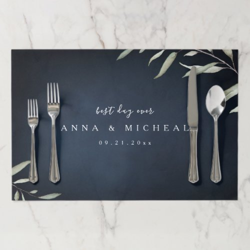 Best day ever moody navy botanical wedding paper placemat