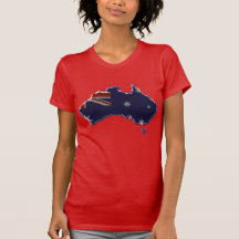 Bevel flag map of Australia T Shirts