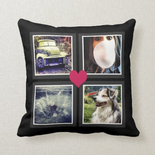 BFFs Cute Instagram Photo Collage with Heart Pillow