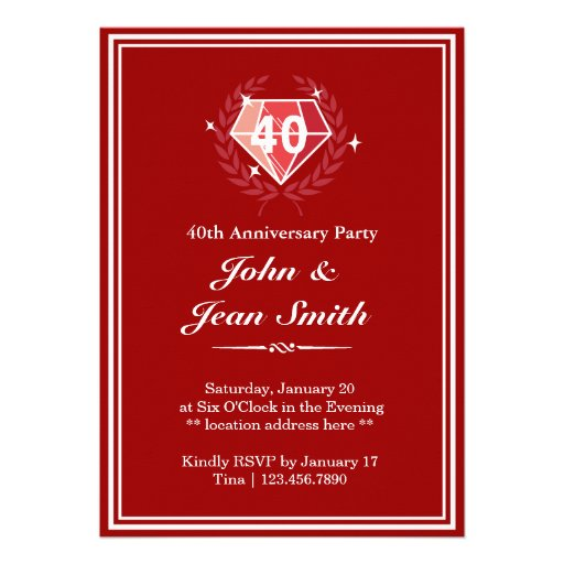Big Red Ruby Gems 40th Anniversary Party Invites