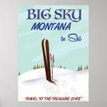 Big Sky, Montana skiing travel poster