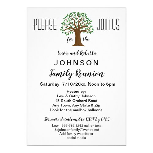 Big Tree Logo Family Reunion or Event Invitation